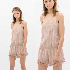 Zara women blush pink embroidered romper